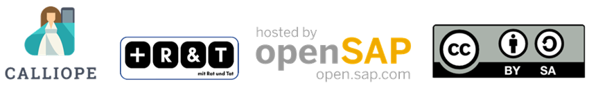 calliope Logo, Rat und Tat Logo, hosted by openSAP Logo and Creative Commons logo