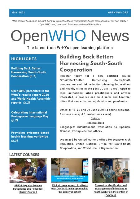 OpenWHO Newsletter May 2021