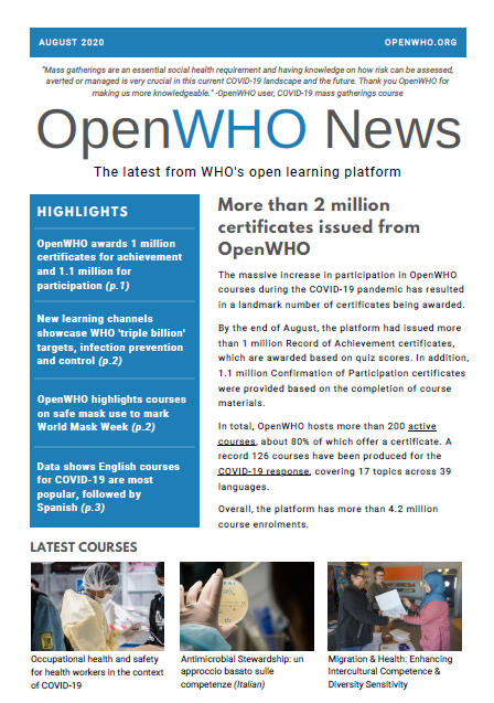 OpenWHO Newsletter August 2020
