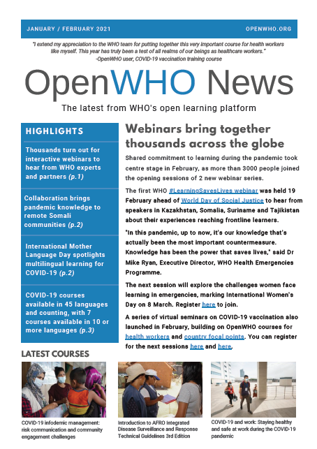 OpenWHO Newsletter January / February 2021