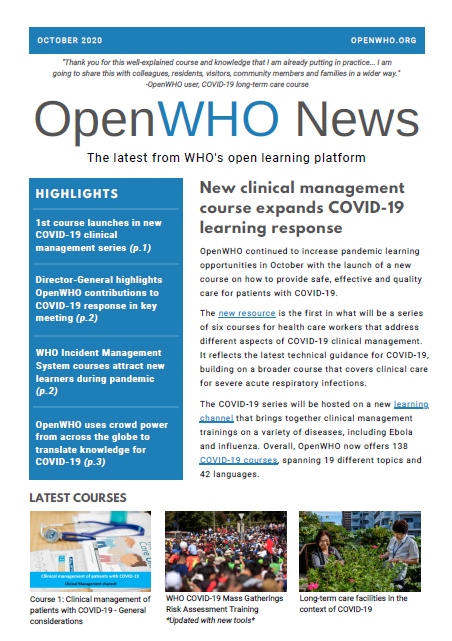 OpenWHO Newsletter October 2020