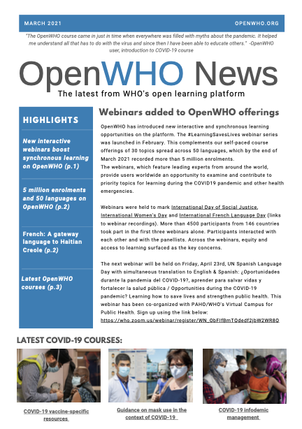 OpenWHO Newsletter March 2021