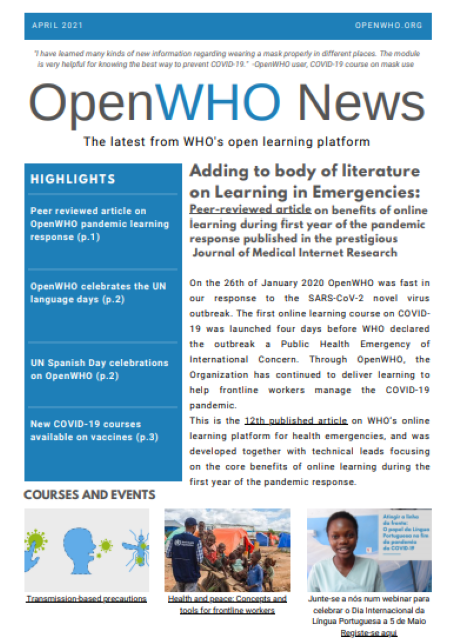 OpenWHO Newsletter April 2021